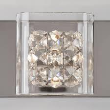 Artika 4 Light Crystal Cube Wall Modern Fixture Crystal Cube 4 Light Vanity Light