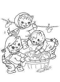 De Drie Kleine Kittens Wassen Hun Handschoenen Kleurplaat Gratis