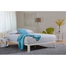 white metal platform bed.  Bed Lunar White Metal Wood Platform Bed II  Overstock Shopping Great Deals  On Beds On Metal A