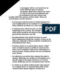 Newspaper articles should be objective, factual, accurate and balanced. Types Of Newspaper Articles Adverb News