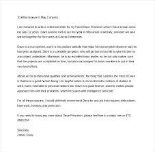Immigration Letter Of Recommendation Sample Letter Of Personal Recommendation Personal Reference Letter For Coop