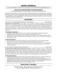 Maintenance Superintendent Resume Sales Superintendent Lewesmr