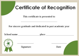Certificate Of Honor Template Certificate Of Recognition For Honor Students Template