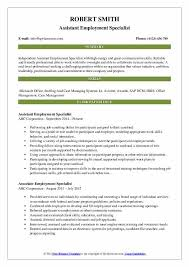 Staffing Specialist Resumes Employment Specialist Resume Samples Qwikresume