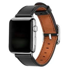 apple watch leather band with buckle black