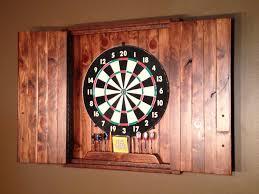 driftwood backboard and shelf put behind dart board to protect wall