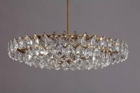 crystal glass chandelier vienna 1950 hexagonal drop shape crystals brass stam 18