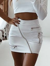 white leather look circle zip front high waist chic women pencil skirt