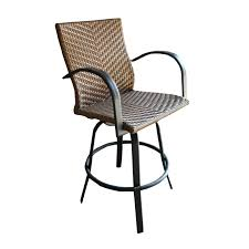 metal swivel bar stools with back. Dark Brown Rattan Metal Swivel Bar Stool With Back And Double Arms Completed By Four Legs Stools