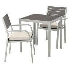 sjÄlland table 2 chairs w armrests outdoor själland dark grey light grey ikea