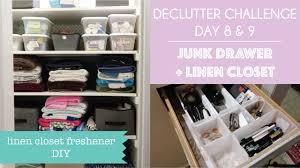 clutterbug declutter challenge day 8 9 junk drawer and linen closet air freshener diy