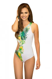 Mapale White Swimsuit With Lemon Print Detail