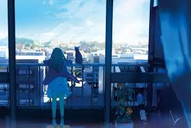 Hintergrundbilder Katze Fenster Stadt Anime Mädchen