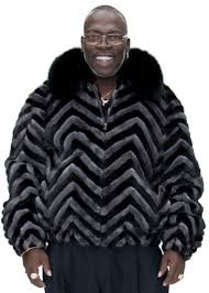 black ranch and grey 28 chevron design mink zip jacket with dyed black fox