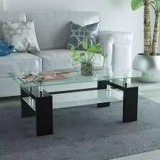 vidaXL High-Gloss <b>Coffee Table</b> with Lower Shelf <b>110x60x40</b> cm ...