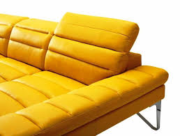 image of mustard yellow leather sofa