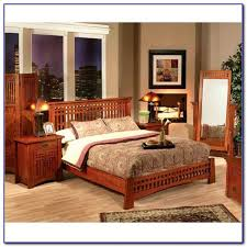 mission style oak finish queen bedroom set