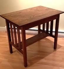 Mission Sofa Table Leick Furniture Medium Oak Black Style Side