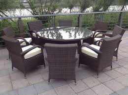 8 seater round brown rattan garden furniture dining set
