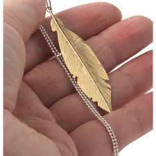 large sterling silver feather pendant gold plated 60mm x 15mm
