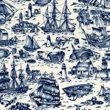 Nautical on organic cotton by the yard or custom by reneesfabrics ... & Yard Quilt Fabric Ancient Mariners Toile Scenic Nautical Fabric Adamdwight.com