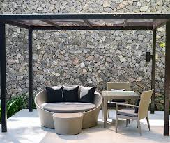 outdoor room with basic pergola above outdoor furniture