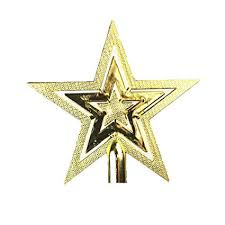 Cosanter Weihnachtsbaumspitze Fünfzackiger Stern Christbaumschmuck Glitzer Goldener Pentagramm Top Star 1 Stück 20 Cm