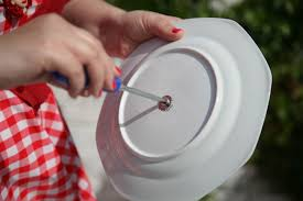put your washers on and then poke the bottom into the plate put a soft washer on the topside of this plate and then apply the cake stand fitting