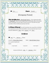 Template For Stock Certificate Stock Certificates 2018 Templates For Ms Word Word