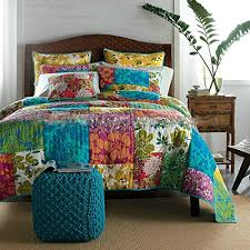 Colorful Flower Power Party Patchwork Quilt Set & Tache-100-Cotton-3-PC-Colorful-Flower-Power- Adamdwight.com