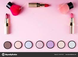 frame makeup s decorative cosmetics pink background flat lay fashion stock photo