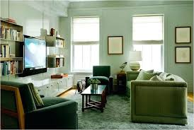 wall furniture for living room. Modern Living Room Sage Green Painted Wall Mounted Unit Open Shelves Drawer Underneath Shag Rugs Dark Microfiber Accent Chairs Convertible Sofa Black Tv Furniture For