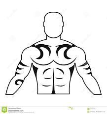 мышечный человек с значком татуировки простым иллюстрация вектора