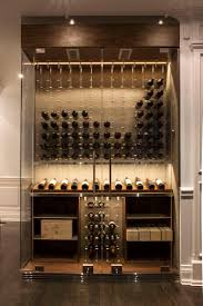 Modern custom glass surround reach in wine cellar designed and constructed  by Papro Wine Cellars &