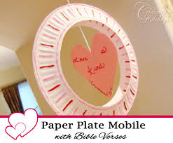 tissue paper hearts craft paper plate mobile valentine s day craft