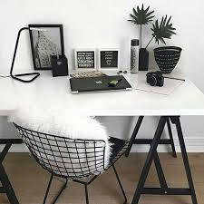 black white furniture. white desk w black hairpin legs wire chair pillow or throw add table book shelfwall shelves furniture n