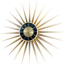 sunburst clock gold midcentury