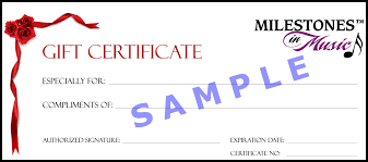 gift certificates milestones in music llc milestones in music gift certificate