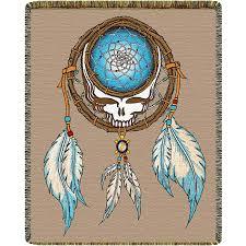 Dream Catcher Blankets Grateful Dead Dreamcatcher Stealie Woven Cotton Blanket Cotton 27