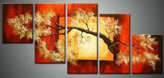 5panels combination drawing room wall hanging art canvas handmade