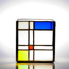 ann smyth stained glass mondrian mixed tealight holder stained glass gift tea light candle