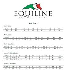 Tailored Sportsman Size Chart Equiline Size Chart Exceptional Equestrian