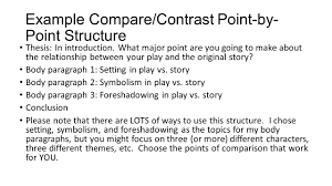 writing a compare contrast essay about literature ppt video  example compare contrast point by point structure