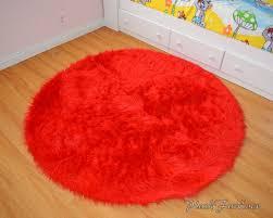 round fur rug bright red faux fur throw area rug round rug boy girl kids nursery