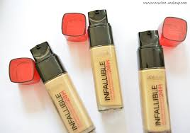 l oreal paris infallible reno stay fresh 24h liquid foundation review swatches demo