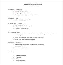 biography outline sample example format biography essay outline template