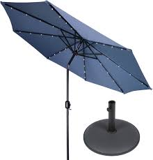 Blue Patio Umbrella With Lights 9 Deluxe Solar Powered Led Lighted Patio Umbrella With Gray Circular Base By Trademark Innovations Blue