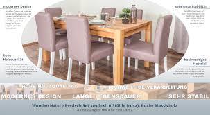 Wooden Nature Esstisch Set 309 Inkl 6 Stühle Rosa Buche Massivholz 160 X 90 L X B