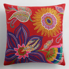 Red Floral Embroidered Indoor Outdoor Throw Pillow