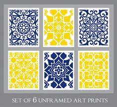 navy yellow wall art blue yellow art